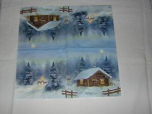 4 servietten h tte bergh tte rehe wald winter nacht weihnachten berge mond schne ebay. Black Bedroom Furniture Sets. Home Design Ideas
