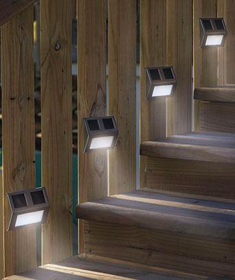 4 Solar Wedge Lights Corner Steps Fence Posts Deck Outdoor Patio Garden Lighting