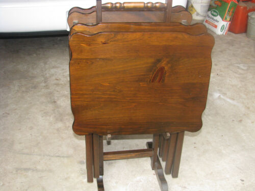 4 Vintage Antique Wood Folding Dinner TV Table Trays Beautiful ON STAND in Antiques, Furniture, Tables | eBay