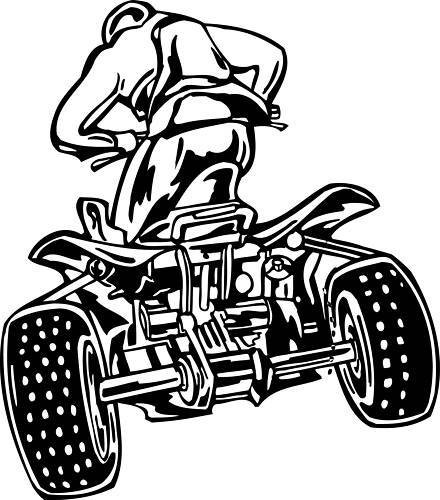 4 Wheeler Quad ATV Off Road Window Wall Sticker Vinyl Car Decal Any Color