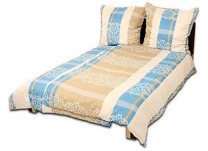 4 tlg bettw sche streifen damast beige blau microfaser rv neu ln 04 ebay. Black Bedroom Furniture Sets. Home Design Ideas