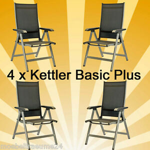 4 x kettler basic plus klappsessel sessel. Black Bedroom Furniture Sets. Home Design Ideas