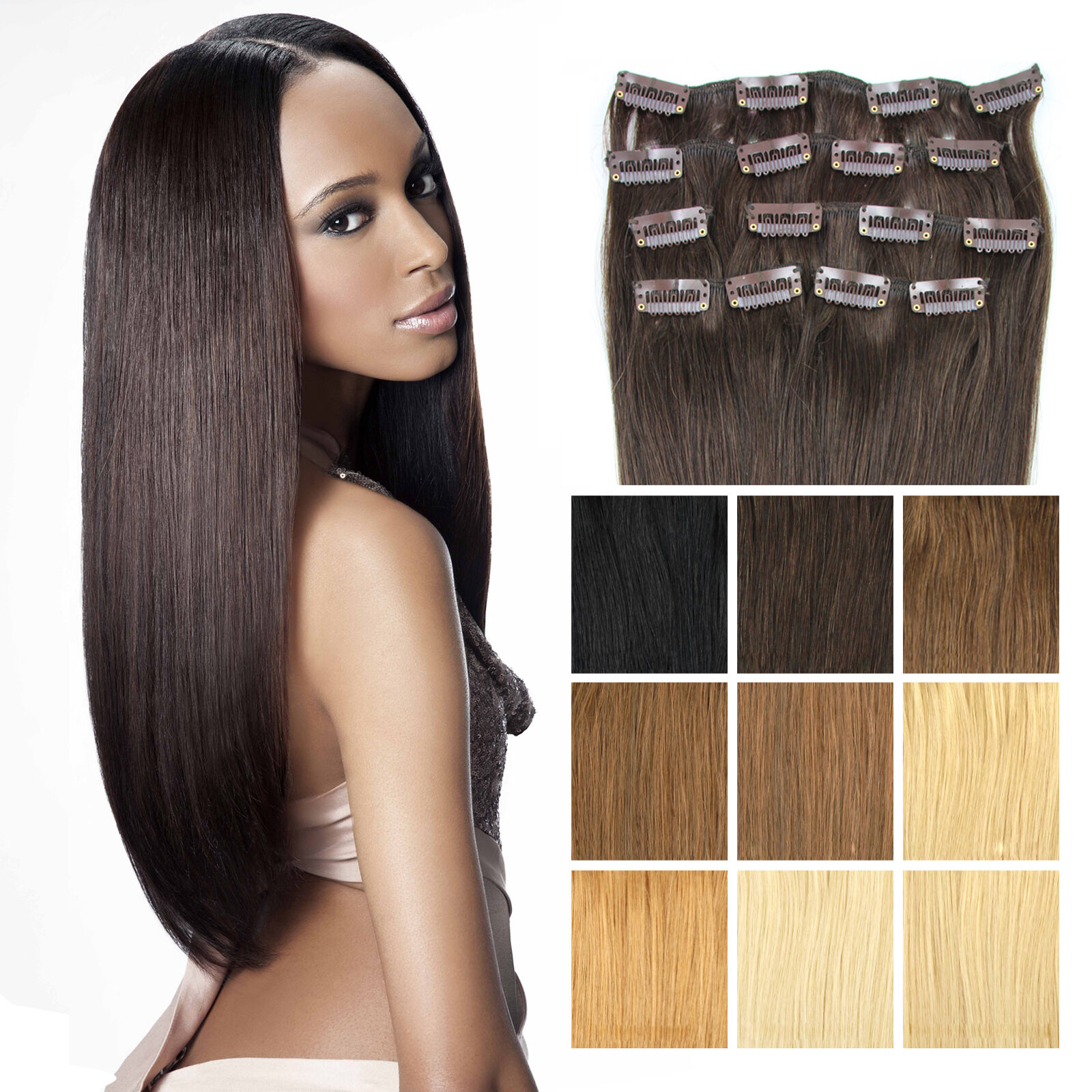clip in extensions 7 tressen 16 clips haarverl ngerung haarverdichtung 45cm 55cm. Black Bedroom Furniture Sets. Home Design Ideas
