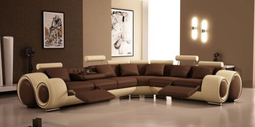 4087 MODERN LEATHER SECTIONAL SOFA WITH RECLINERS in Home & Garden, Furniture, Sofas, Loveseats & Chaises | eBay