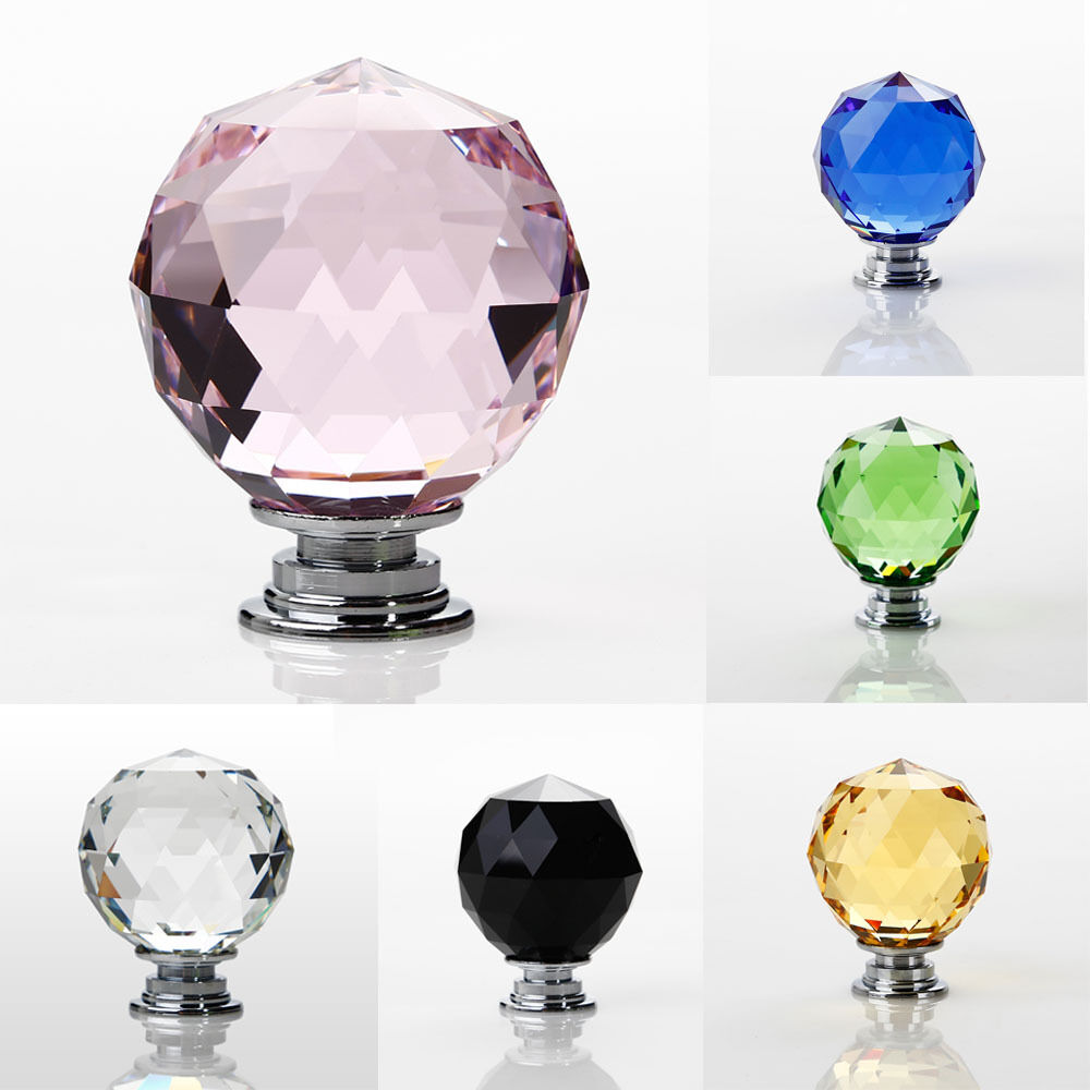 40mm glas m belknopf kristall m belkn pfe m belgriffe m belknauf klar schwarz ebay. Black Bedroom Furniture Sets. Home Design Ideas