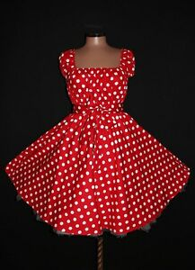 Size  Dress on Dots Rockabilly Swing Dress Plus Size 24 26 28 Red White Pin Up   Ebay