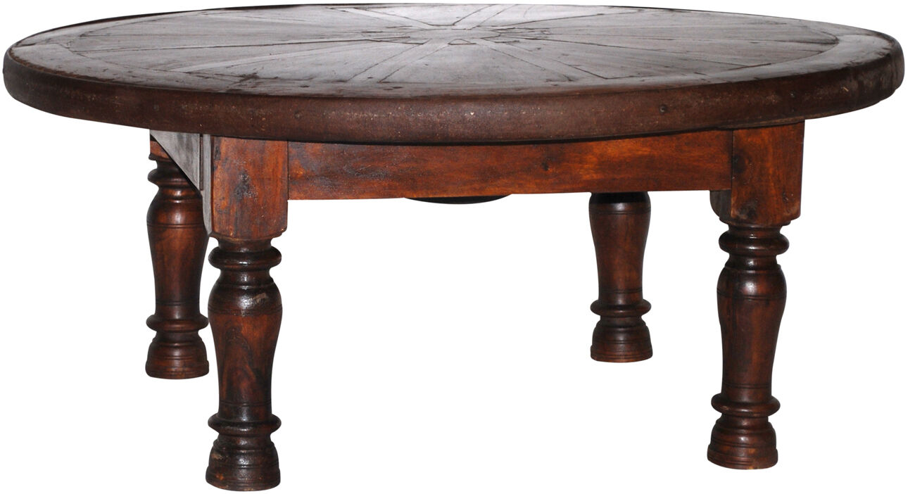 44 round rustic vintage hardwood old wheel coffee table with an iron ring ebay Rustic iron coffee table