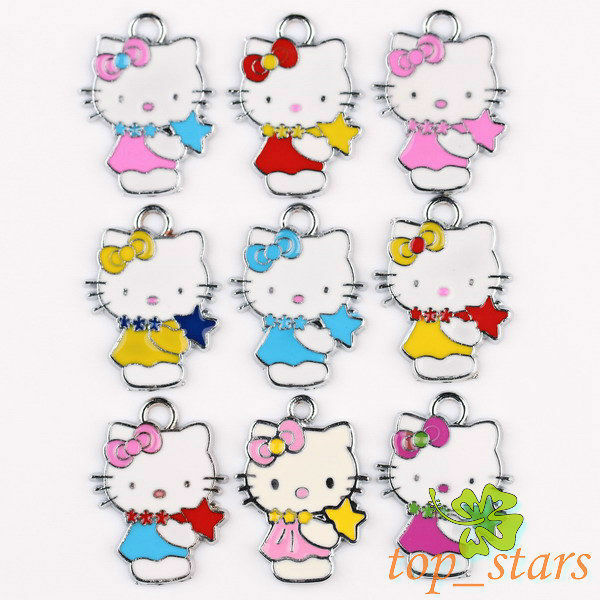 Silver Mix Color Hello Kitty Cat Pendants Charms 24 18mm TS113
