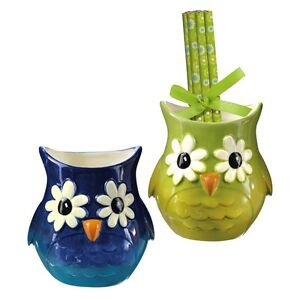 455307 owl desk owl pencil cups out on a limb whimiscal for Home decorations on ebay