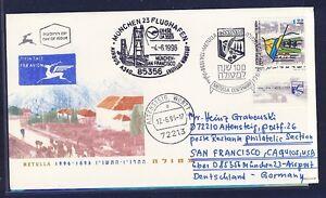 45932-LH-FF-Muenchen-San-Francisco-4-6-96-feeder-mail-Israel-cover-FDC-Metulla