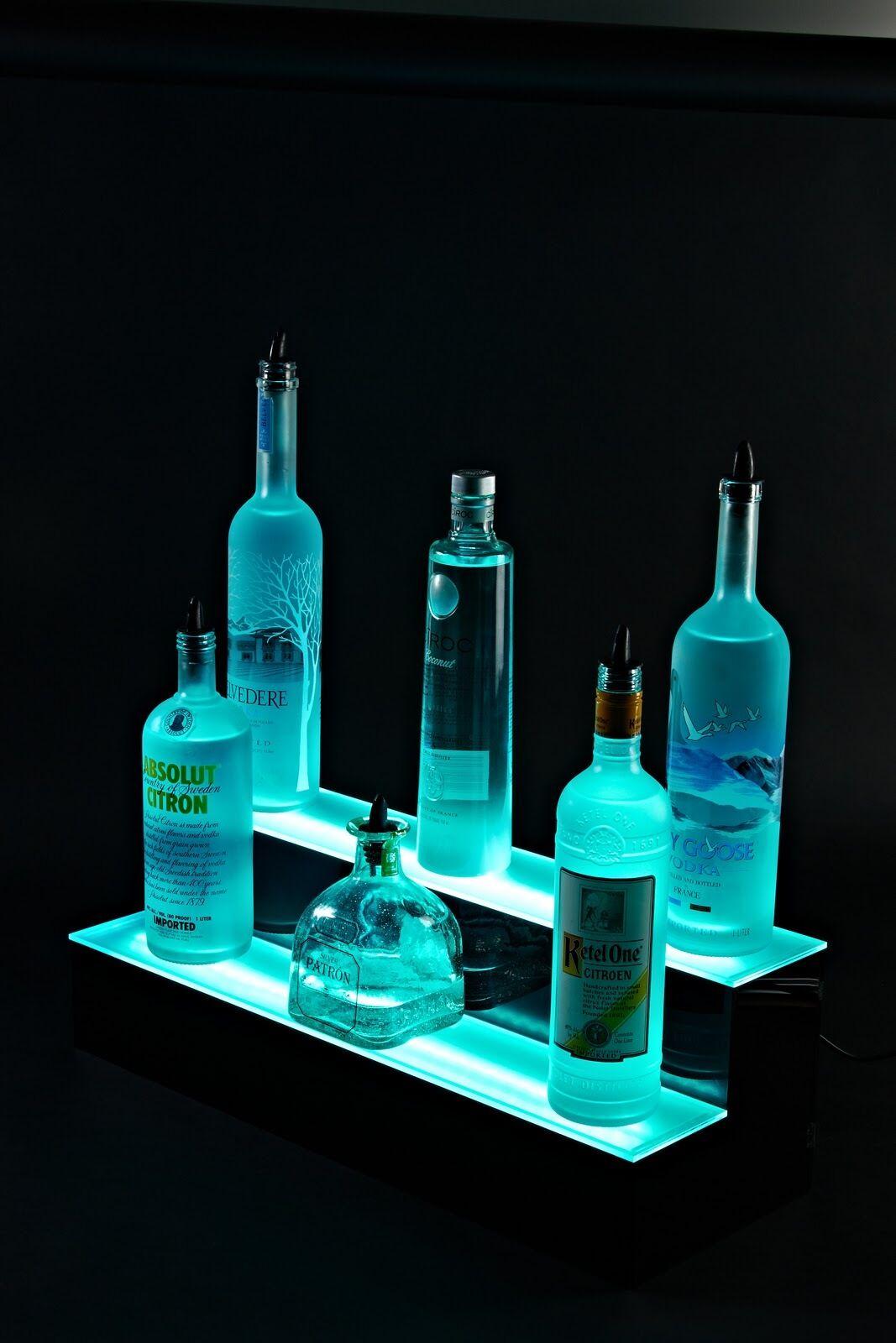 48 led lighted bar shelves 2 tier led liquor bottle shelf. Black Bedroom Furniture Sets. Home Design Ideas