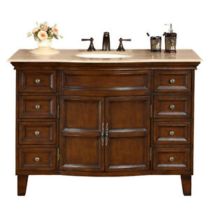 Bathroom Vanity Cabinet on 48  Travertine Stone Top Bathroom Cabinet Furniture Single Sink Bath