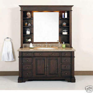 Single Sink Bathroom Vanity on 48  W Single Sink Bathroom Vanity Hutch Granite Top   Ebay