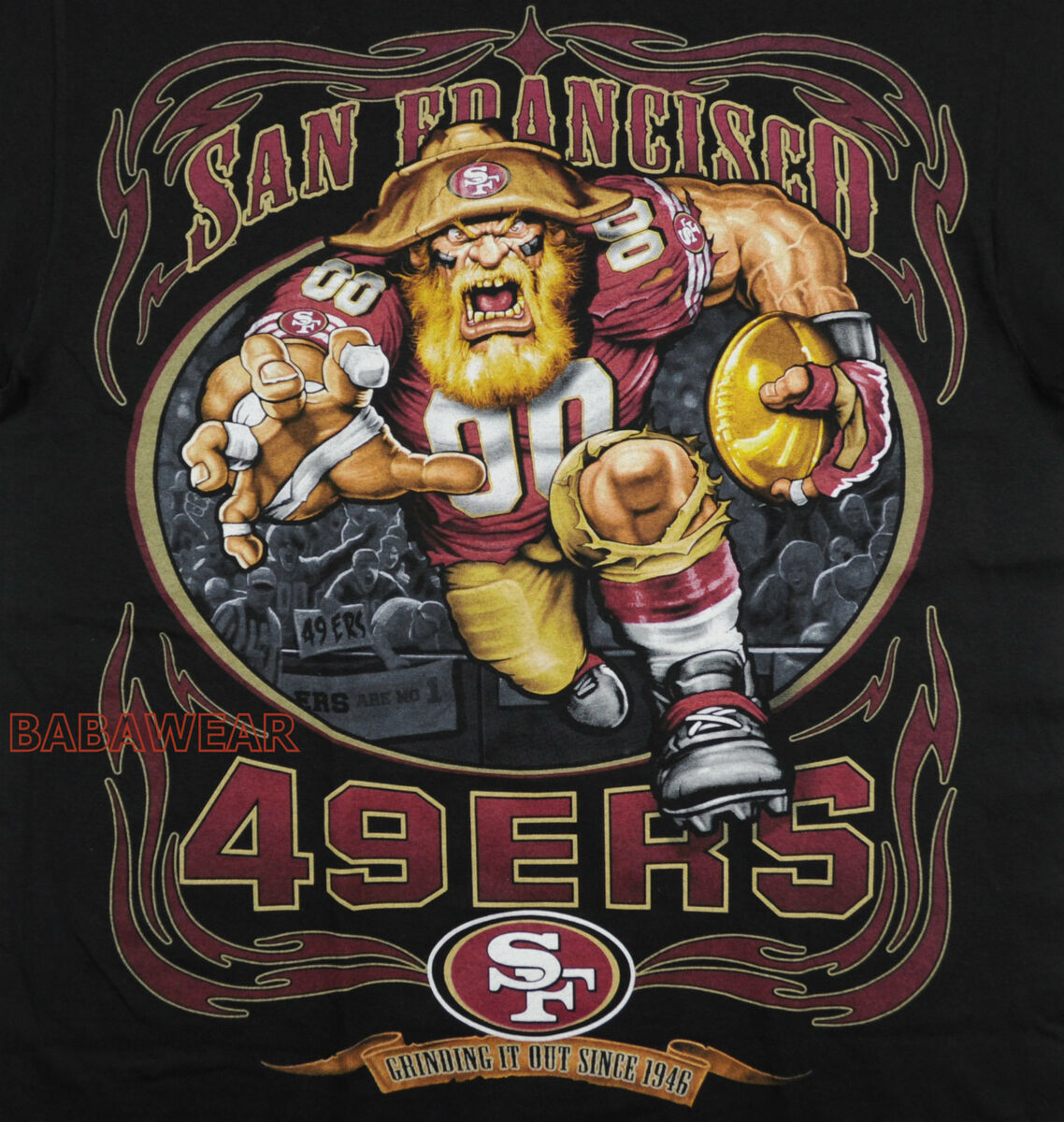 Running Back T Shirt Black NFL SF San Francisco Football Baba