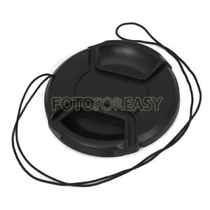 49mm Center Pinch Snap on Front Cap Hood Cover for Lens / Filters with Leash 49