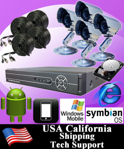 4CH 4 CHANNELS Home Video Surveillance CCTV DVR Security System 4 Outdoor Camera in Consumer Electronics, Home Surveillance, Digital Video Recorders, Cards | eBay