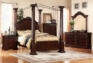 Bedroom Sets 4Pc Queen Queen Cherry Walnut Canopy Wood Bedroom Set ZBE52208