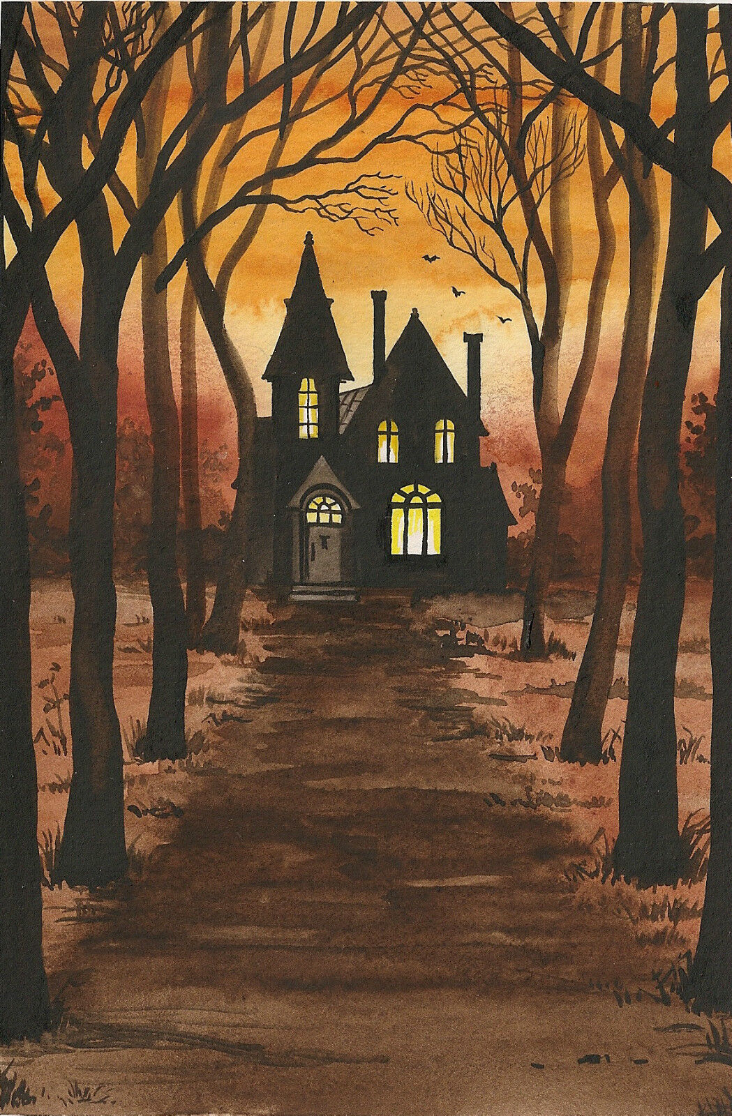 4X6 PRINT OF HALLOWEEN PAINTING RYTA HAUNTED HOUSE VINTAGE ...