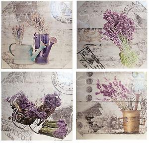4er set wandbilder toscana 40 x 40 cm lavendel landhaus motive shabby look neu ebay. Black Bedroom Furniture Sets. Home Design Ideas