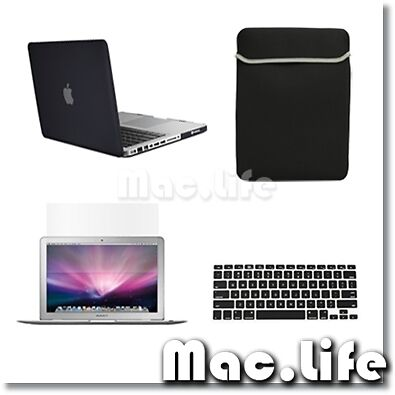 "4in1 Rubberized BLACK Case for Macbook PRO 13"" + Keyboard Cover +LCD Screen+ Bag in Computers/Tablets & Networking, Laptop & Desktop Accessories, Laptop Cases & Bags 