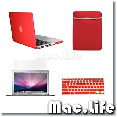 "4in1 Rubberized RED Case for Macbook PRO 13"" + Keyboard Cover + LCD Screen + Bag in Computers/Tablets & Networking, Laptop & Desktop Accessories, Laptop Cases & Bags 