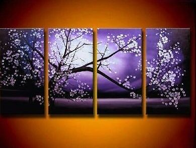 4pc Asian Style Flower Modern Abstract Art Oil Painting Canvas Framed Free Gift in Art, Art from Dealers & Resellers, Paintings | eBay