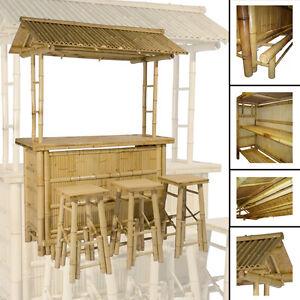 4tlg bar rivas bambus theke tresen barhocker outdoor cocktailbar gartenm bel ebay. Black Bedroom Furniture Sets. Home Design Ideas