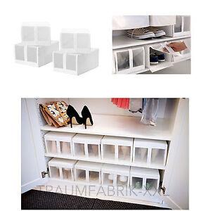 4x aufbewahrungsboxen schuhe boxen box regalbox schuhbox. Black Bedroom Furniture Sets. Home Design Ideas