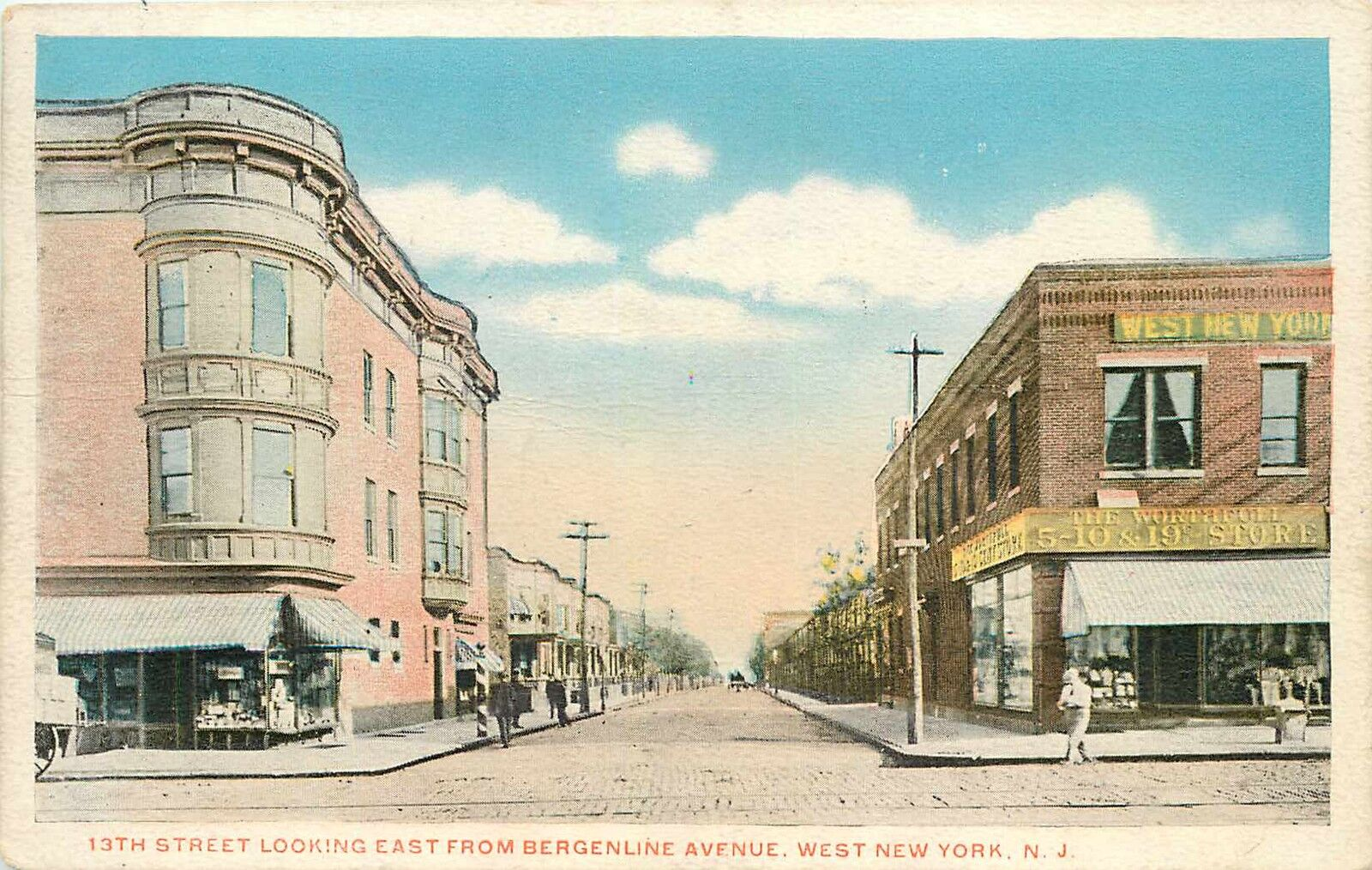 Store On Bergenline Ave West New York Nj Old Postcard 1910