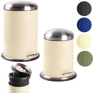 5 20 l retro metall abfalleimer pedaleimer m lleimer kosmetikeimer treteimer ebay. Black Bedroom Furniture Sets. Home Design Ideas