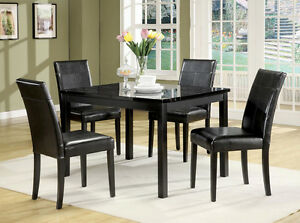 High End Black Marble Finish Dining Room Set Table And Chairs ZAC06778