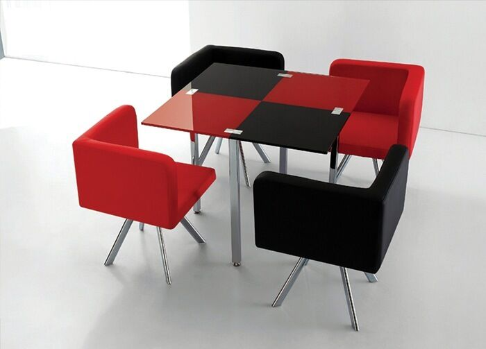 Pcs Modern Black Red Square Dining Room Glass Table Dining Set
