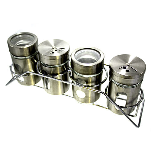 5 piece glass storage and stainless steel canister set spice jars ebay. Black Bedroom Furniture Sets. Home Design Ideas