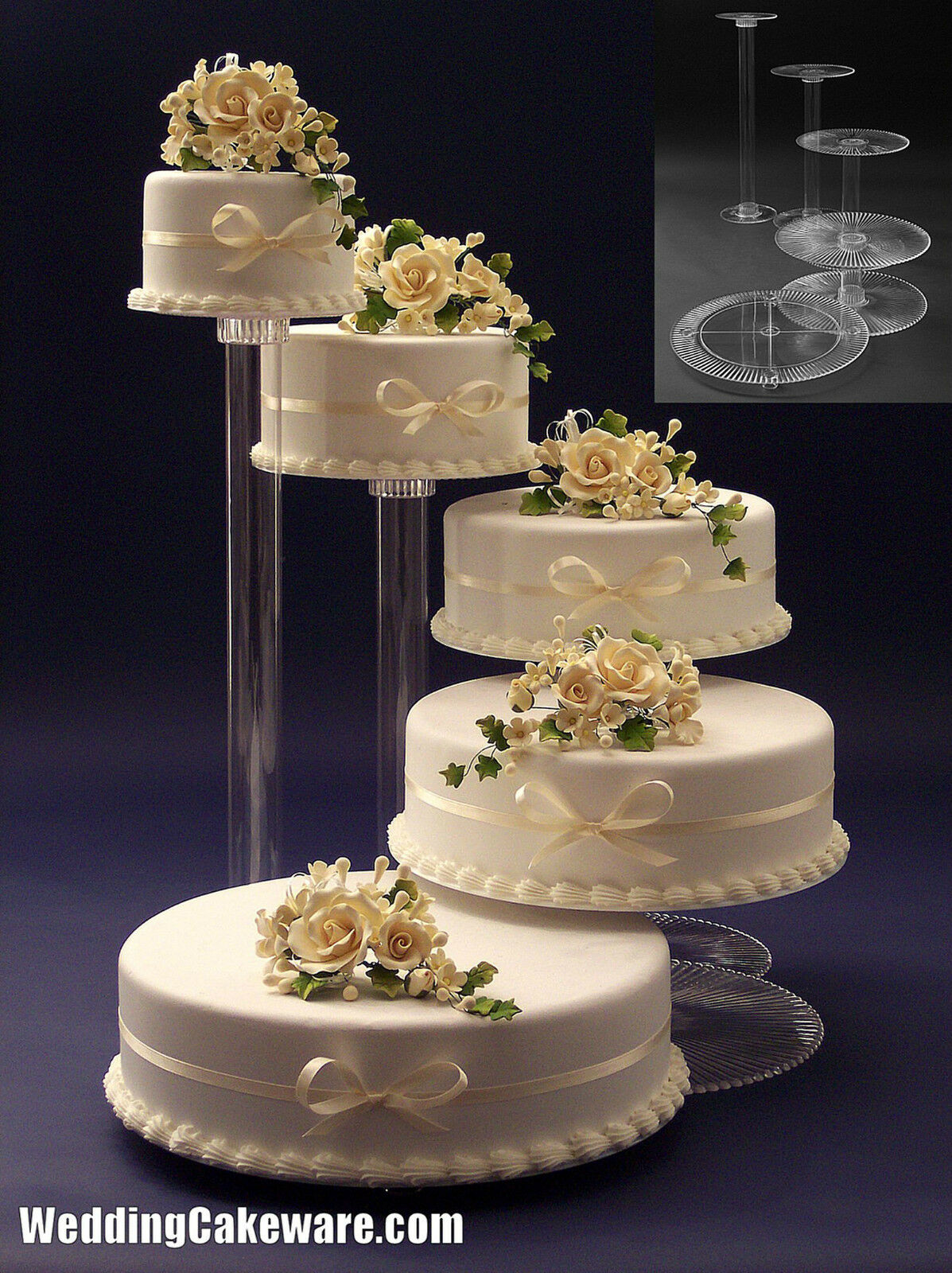 5 tier cascade wedding cake stand stands set cake stand wedding bling wedding cake stand cupcake base 10453