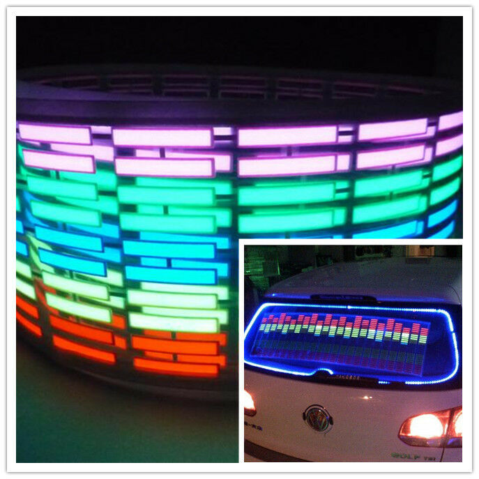 5 Colors Sound Music Activated Car Stickers Equalizer Glow 12V LED Light 45 11cm
