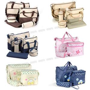 5-tlg-Wickeltasche-Pflegetasche-Kindertasche-Babytasche-BRAUN-KHAKI-BLAU-PINK