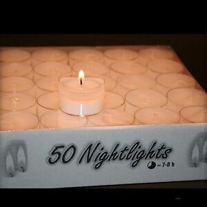 50-500-Teelichter-Teelichte-in-Transparenthuelle-8h-Brenndauer-Nightlights-NEU