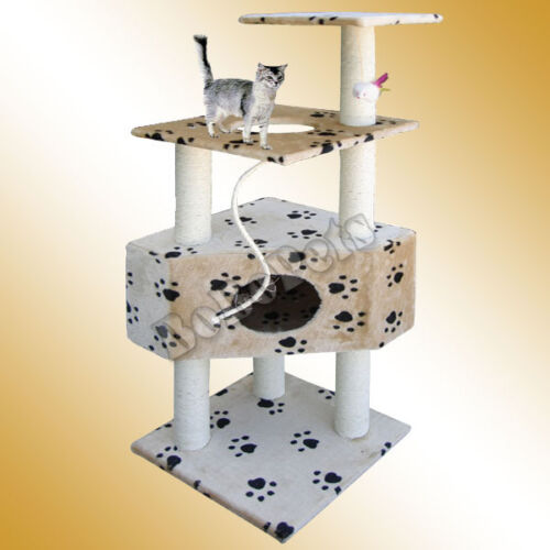 "50"" Beige Cat Tree House Condo Scratcher Post Furniture in Pet Supplies, Cat Supplies, Furniture & Scratchers | eBay"