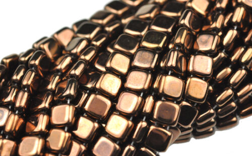 50 Bronze 2 Hole Czech Glass Flat Square Beads 6MM in Crafts, Beads & Jewelry Making, Beads, Pearls & Charms   eBay