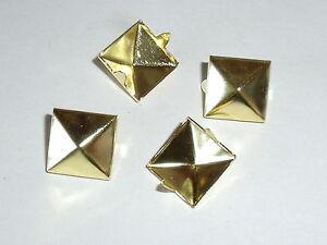50-Pyramidennieten-Pyramiden-Nieten-Ziernieten-12x12mm-gold-rostfrei-NEUWARE