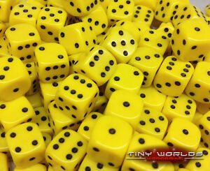 50-Six-Sided-Dice-12mm-Yellow-Wargaming-D6-Warhammer-Eldar-Space-Marines-Tau