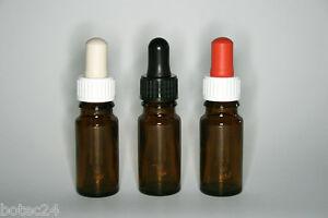 50-St-Pipettenflaschen-10-ml-Braunglas-DIN18-Pipettensauger-in-drei-Farben