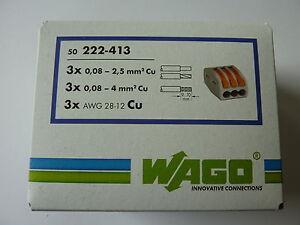 50 st ck wago hebel klemmen typ 222 413 verbindungsklemme f r 3 adern ebay. Black Bedroom Furniture Sets. Home Design Ideas