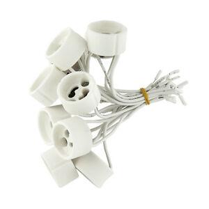 50-x-Fassungen-GU10-fuer-Halogen-und-LED-Lampe-Sockel-Fassung-Keramik-mit-Kabel