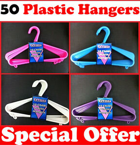 50 x Plastic Childrens Baby Coathangers Coat Hangers Child Babies Kids Clothes