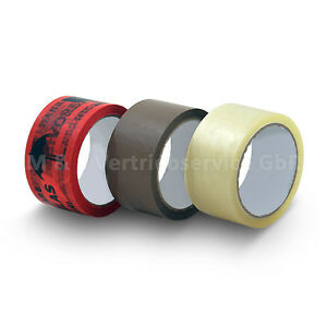 50m-Klebeband-Paketklebeband-Paketband-Packband-Vorsicht-Glas-braun-transparent