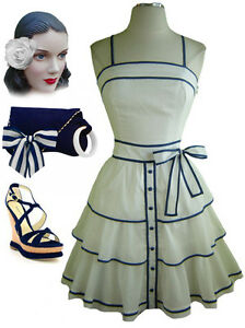 White  Dress on 50s Style White Pinup Sun Dress With Navy Blue Detailing Tiered Full