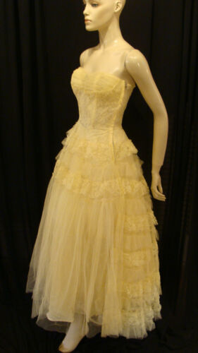 50s VINTAGE YELLOW TULLE SHELF BUST LACE BACK PARTY PROM DRESS w BOLERO XS in Clothing, Shoes & Accessories, Vintage, Women's Vintage Clothing | eBay