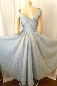 50s-Vintage-Formal-Party-Long-Gown-Dress-Full-Sweep-Halter-Light-Blue-Prom-Sz-S