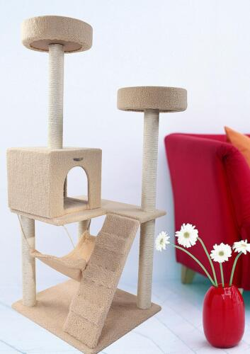 "55"" BEIGE Cat Tree Condo House Scratcher Pet Furniture Bed-03 in Pet Supplies, Cat Supplies, Furniture & Scratchers 